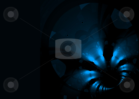 Deep space stock photo, Abstract illustrated space scene in blue and black by Michael Travers