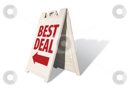 Best Deal Tent Sign stock photo, Best Deal Tent Sign Isolated on a White Background. by Andy Dean