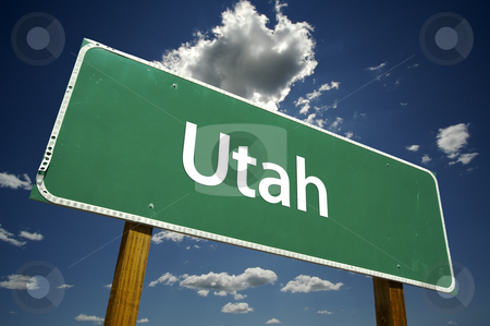 Utah Road Sign stock photo, Utah Road Sign with dramatic clouds and sky. by Andy Dean