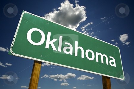Oklahoma Road Sign stock photo, Oklahoma Road Sign with dramatic clouds and sky. by Andy Dean