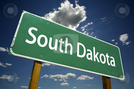South Dakota Road Sign stock photo, South Dakota Road Sign with dramatic clouds and sky. by Andy Dean