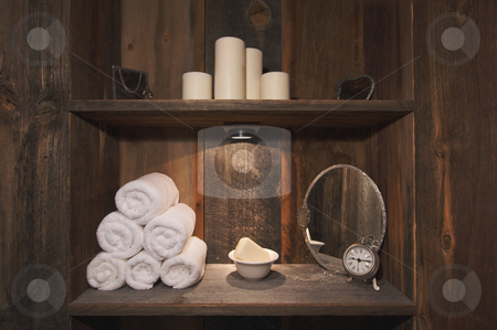 Rustic Spa Scene stock photo, Rustic Spa Scene with Towels, Soap, Mirrors, Candles and Clock. by Andy Dean
