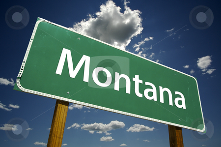 Montana Road Sign stock photo, Montana Road Sign with dramatic clouds and sky. by Andy Dean