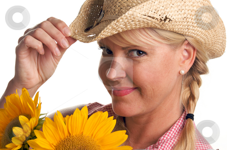 Attractive Blond and Sunflower stock photo, Attractive Blond with Cowboy Hat and Sunflower Isolated on a White Background. by Andy Dean