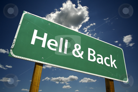 Hell and Back Road Sign stock photo, Hell and Back Road Sign with dramatic clouds and sky. by Andy Dean