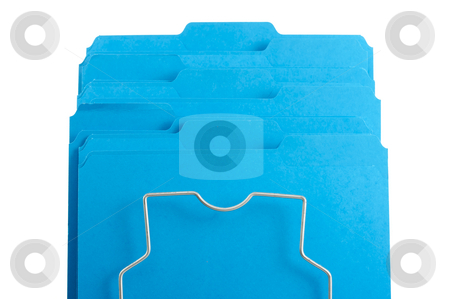 Blue File Folders in Rack.  stock photo, Blue File Folders in Rack Isolated on a White background. Labels ready for your own text. by Andy Dean