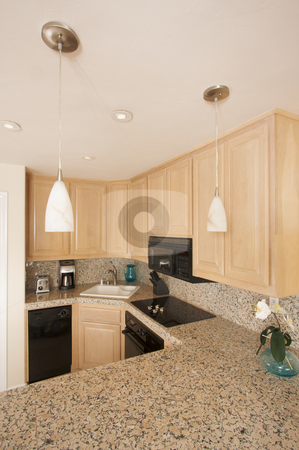 Modern Kitchen Interior stock photo, Modern Kitchen Interior with Marble Countertop. by Andy Dean
