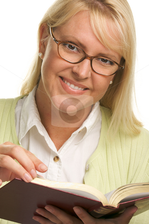 Attractive Woman Reading stock photo, Attractive Woman Reading Isolated on a White Background. by Andy Dean