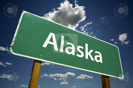 Alaska Road Sign stock photo, Alaska Road Sign with dramatic clouds and sky. by Andy Dean
