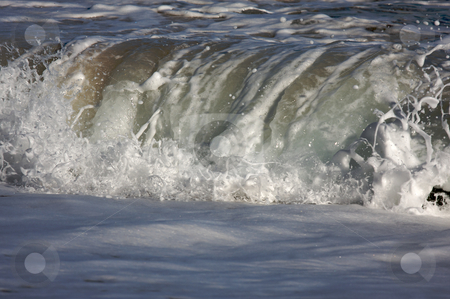 Dramatic Shorebreak Wave stock photo, Dramatic Shorebreak Wave on a clear morning. by Andy Dean