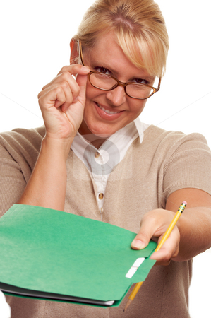 Beautiful Woman with Pencil and Folder  stock photo, Beautiful Woman with Pencil handing over file folder isolated on White. by Andy Dean