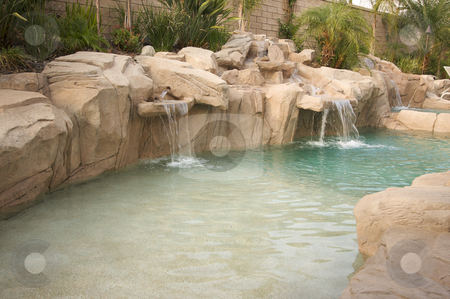 Tropical Custom Pool stock photo, Tropical Custom Pool with waterfalls. by Andy Dean