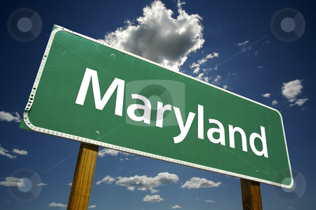 Maryland Road Sign stock photo, Maryland Road Sign with dramatic clouds and sky. by Andy Dean