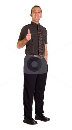 Positive Employee stock photo, Full body view of a very positive employee giving a thumbs up by Richard Nelson