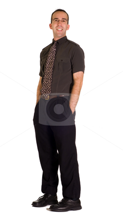 Full Body Employee stock photo, Full body view of a modern employee, isolated against a white background by Richard Nelson
