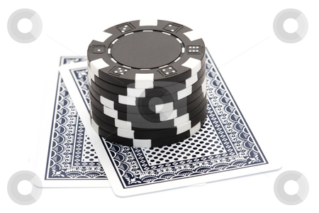 Poker chips and playing cards stock photo,  by Andrey Butenko