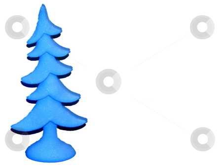 Blue Christmas  Tree isolated on white stock photo, Purple christmas tree isolated on white lots of ad space by CHERYL LAFOND