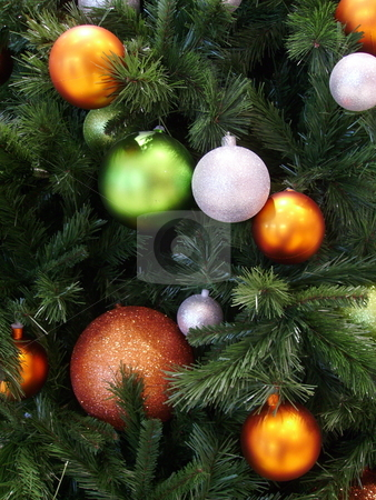 Christmas ball decorations. stock photo, Christmas ornaments decorating tree. by Claudia Ribeiro