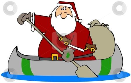 Santa In A Canoe stock photo, This illustration depicts Santa paddling a canoe with a gift bag in the bag. by Dennis Cox