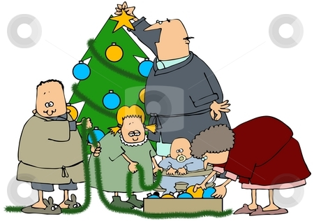 Family Tree Decorating stock photo, This illustration depicts a family decorating a Christmas tree. by Dennis Cox