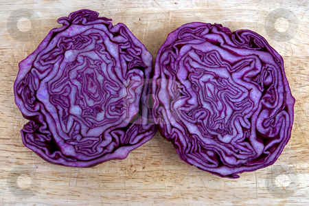Brains stock photo, Red cabbage cut in half looking like a brain by Paul Phillips