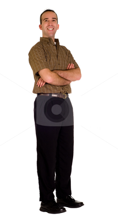 Isolated Businessman  stock photo, A young businessman isolated on white standing with his arms crossed by Richard Nelson