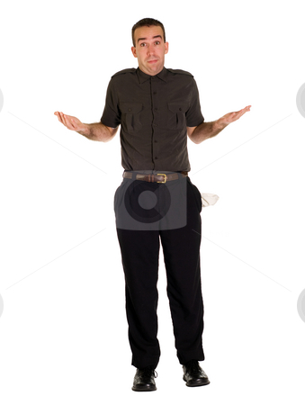 Bankrupt stock photo, A full body view of a man with his pockets emptied out, isolated against a white background by Richard Nelson