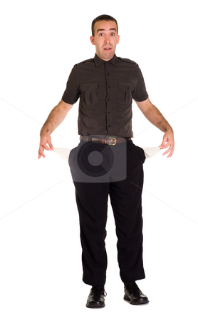 Broke Employee stock photo, Full body view of a man holding out his empty pockets by Richard Nelson