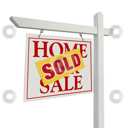 Sold Home For Sale Real Estate Sign on White stock photo, Sold Home For Sale Real Estate Sign Isolated on a White Background. by Andy Dean