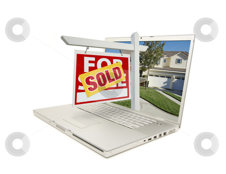 Red Sold For Sale Sign on Laptop stock photo, Red Sold For Sale Sign on Laptop Isolated on a White Background by Andy Dean