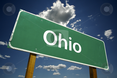 Ohio Road Sign stock photo, Ohio Road Sign with dramatic clouds and sky. by Andy Dean