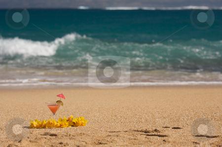 Tropical Drink on Beach Shoreline stock photo, Tropical Drink on Sandy Beach Shoreline by Andy Dean