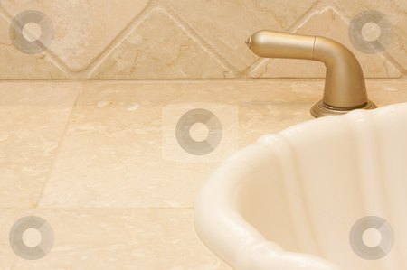 Abstract of Sink and Faucet stock photo, Abstract of Sink, Tile and Faucet by Andy Dean