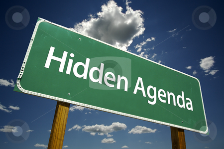 Hidden Agenda Road Sign stock photo, Hidden Agenda Road Sign with dramatic clouds and sky. by Andy Dean