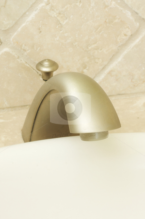 Close-up of Sink Faucet stock photo, Close-up of Sink Faucet and Tile. by Andy Dean