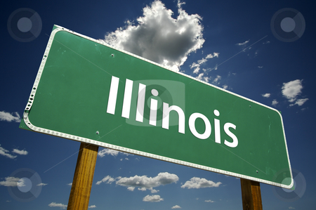 Illinois Road Sign stock photo, Illinois Road Sign with dramatic clouds and sky. by Andy Dean