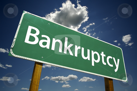 Bankruptcy Road Sign stock photo, Bankruptcy Road Sign with dramatic clouds and sky. by Andy Dean