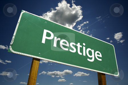 Prestige Road Sign stock photo, Prestige Road Sign with Dramatic Clouds and Sky. by Andy Dean