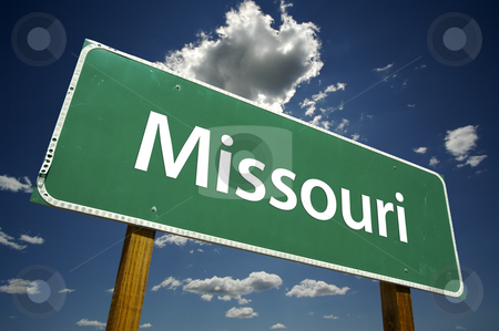 Missouri Road Sign stock photo, Missouri Road Sign with dramatic clouds and sky. by Andy Dean