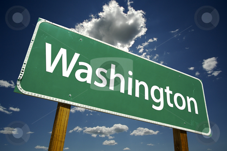 Washington Road Sign stock photo, Washington Road Sign with dramatic clouds and sky. by Andy Dean