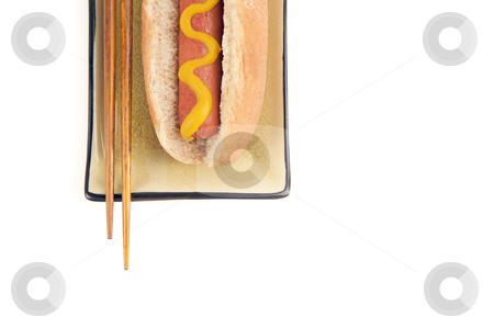 Hot Dog and Chopsticks stock photo, East Meets West - Hot Dog and Chopsticks Isolated on a White Background by Andy Dean