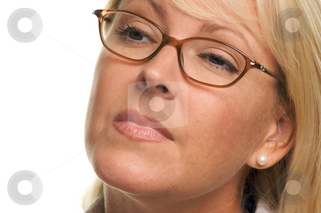 Attractive Woman with Eye Glasses stock photo, Attractive woman with eye glasses looks on isolated on White. by Andy Dean