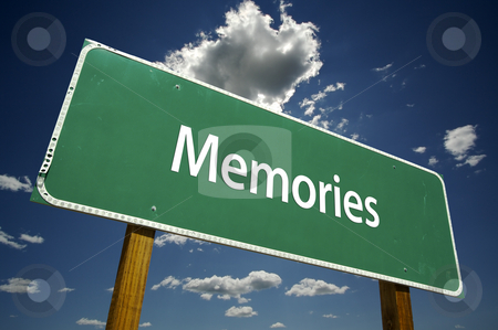 Memories Road Sign stock photo, Memories Road Sign with dramatic clouds and sky. by Andy Dean