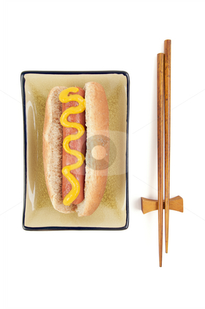 Hot Dog and Chopsticks stock photo, East Meets West - Hot Dog and Chopsticks Isolated on a White Background. by Andy Dean