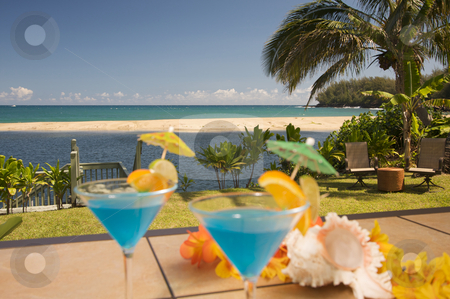 Tropical Drinks on Lanai stock photo, Tropical Drinks on the Lanai. by Andy Dean