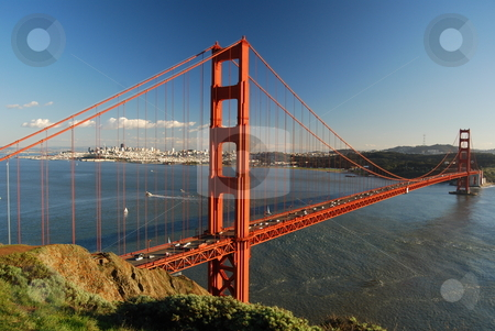 Golden Gate stock photo, Golden Gate bridge viewed from the Marin County side, San Francisco in the backround. by Steven Kapinos