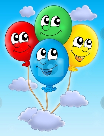 Balloons on sky stock photo, Color illustration of four colorful balloons. by Klara Viskova