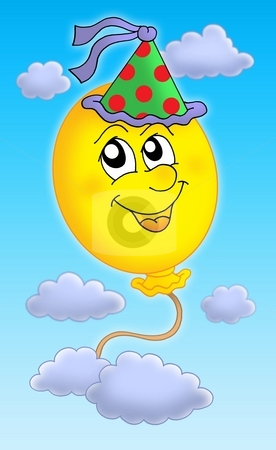 Ballon with cap on sky stock photo, Color illustration of balloon with party cap on sky. by Klara Viskova