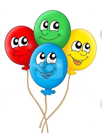 Balloons stock photo, Color illustration of four balloons. by Klara Viskova