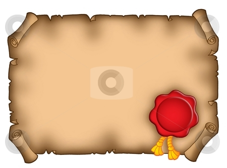 Banner with seal stock photo, Color illustration of old brown banner with red seal. by Klara Viskova